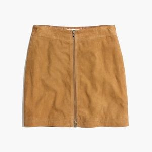 Madewell F6289 suede zip up mini skirt 0